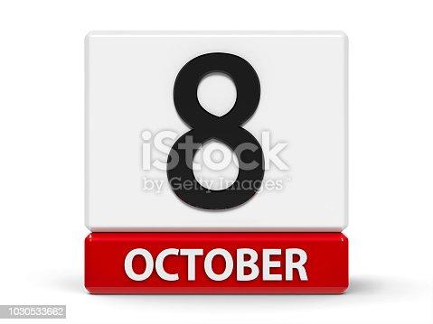 968874704 istock photo Cubes calendar 8th October 1030533662
