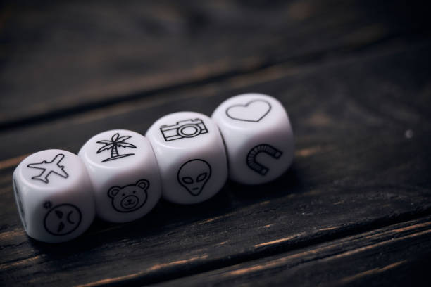 Cubes dice with funny life style symbols. stock photo