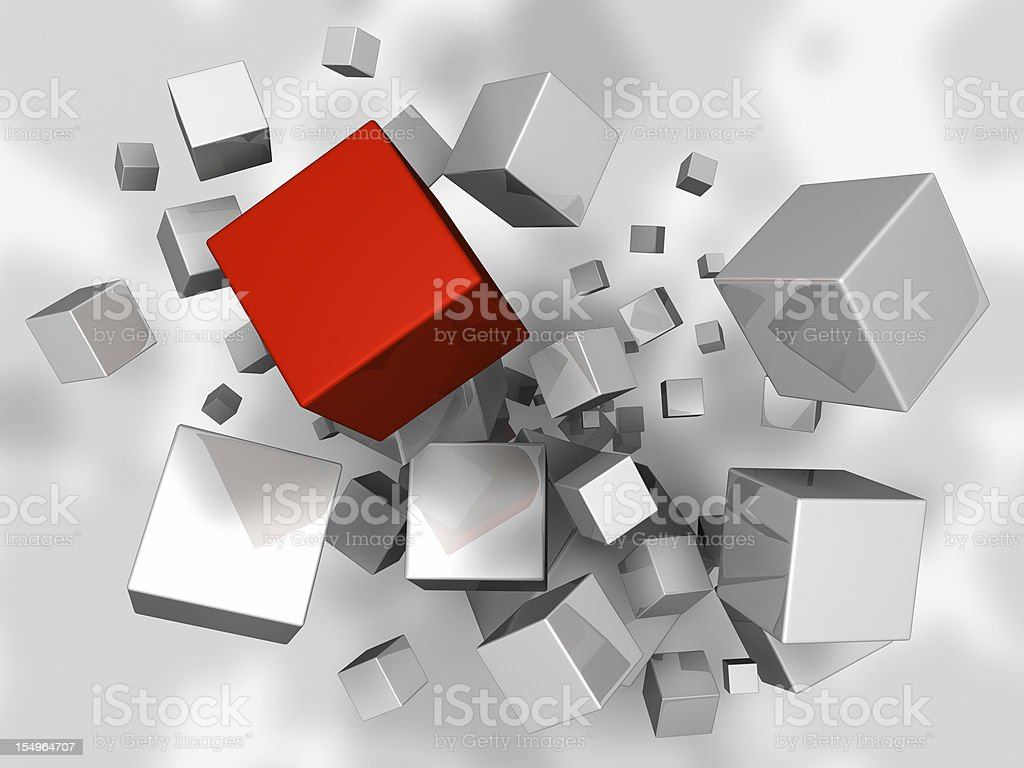 Cubes Explosion royalty-free stock photo