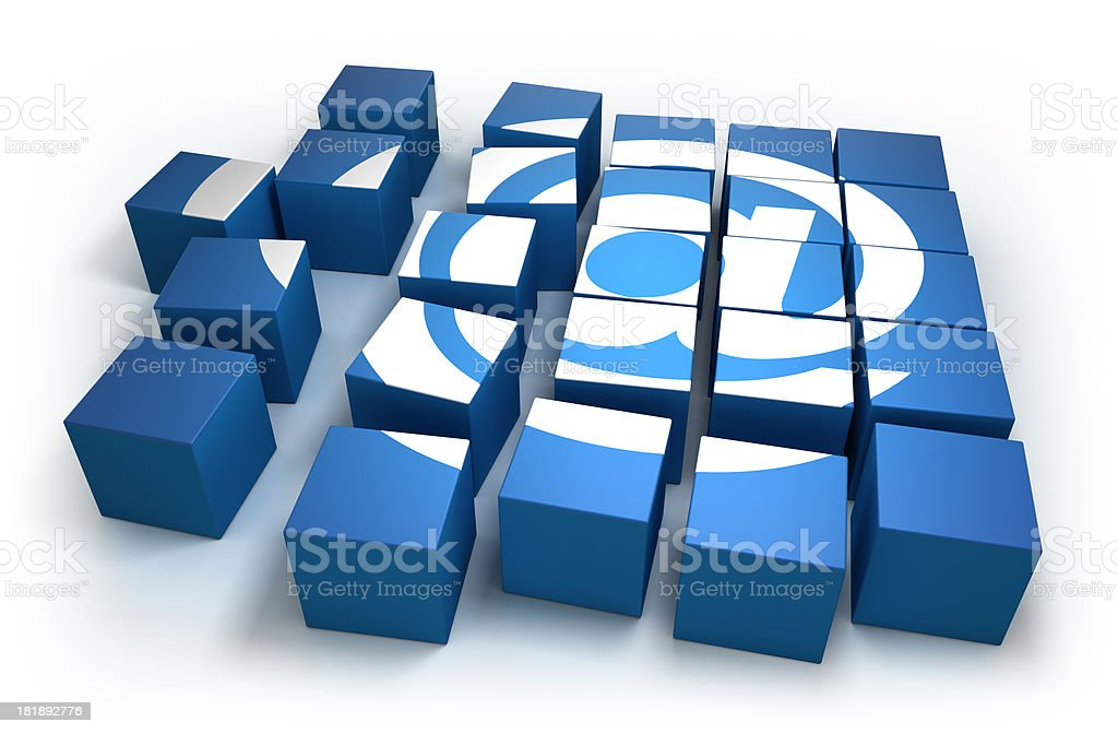 Cubes forming an 'AT' symbol - isolated with clipping path royalty-free stock photo