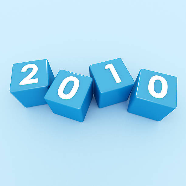 3D Cubes - Happy New Year 2010 on blue stock photo