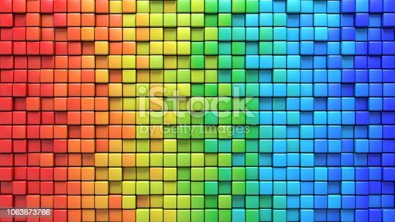 istock Cubes in colorful wall 3D render 1063673766