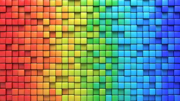 Cubes in colorful wall 3D render Cubes in colorful wall. Computer generated abstract background. Geometric 3D rendering protruding stock pictures, royalty-free photos & images
