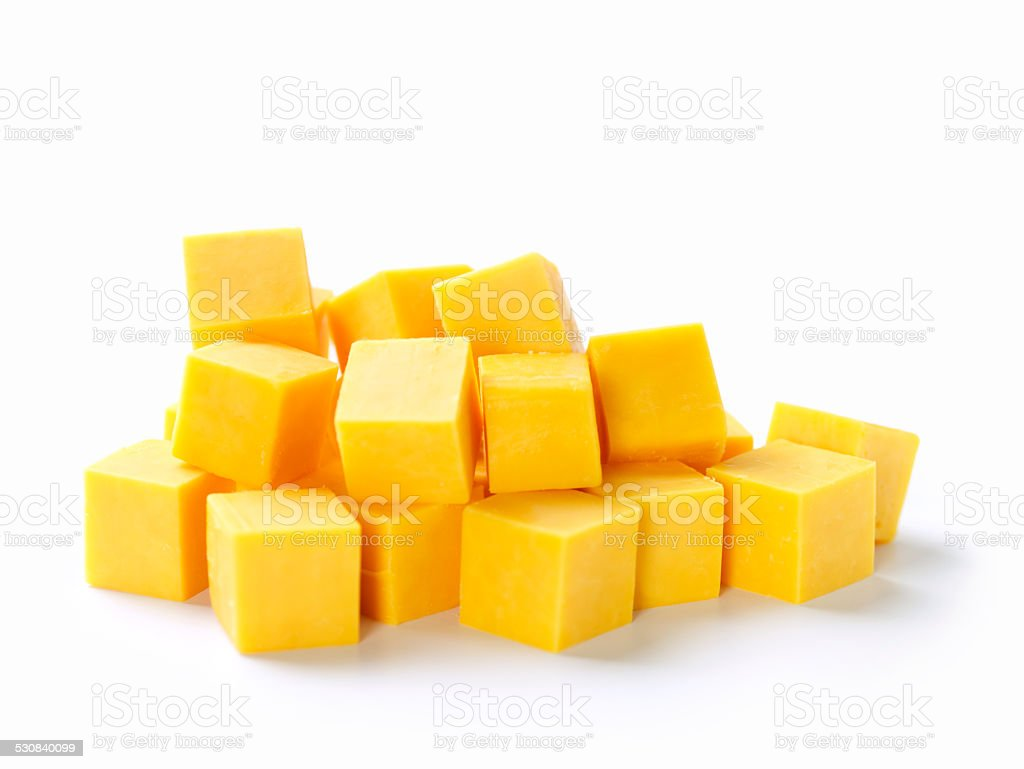 Cubes of Cheddar Cheese stock photo