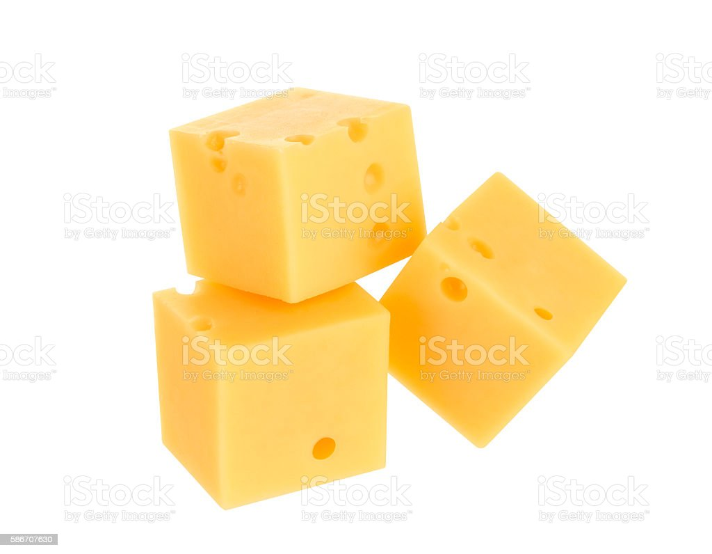 Cubes of cheese isolated on white stock photo