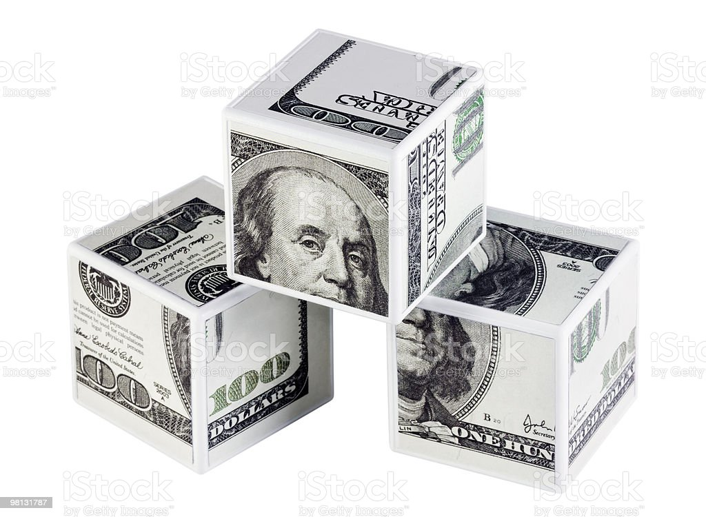cubes of dollars royalty-free stock photo