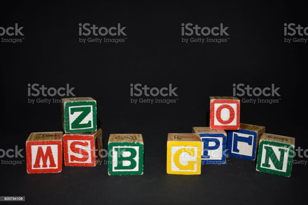 Cubes of letters stock photo