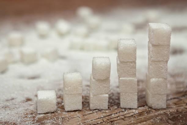 würfel von weißem zucker, diabetes und hohen zucker-level-konzept - zuckerfreie lebensmittel stock-fotos und bilder