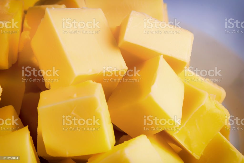 Cubes of yellow butter stock photo