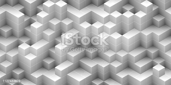 istock Cubes seamless background - white, randomly stacked structure 1127433623