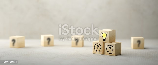 cubes showing a brainstorming session on concrete background - 3d illustration