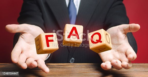 istock Cubes thrown by a official make word abbreviation acronym FAQ (frequently asked questions). Instructions rules. Convenient form of answers explanations for users and customers. Avoid frequent errors 1248154447