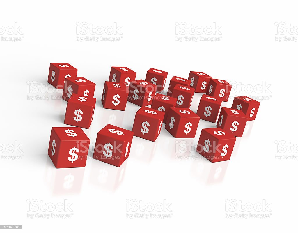 Cubes with Dollar Sign royalty-free stock photo