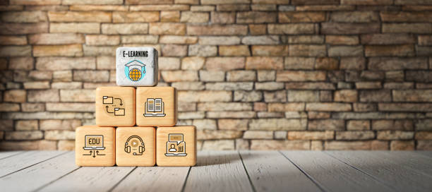 cubes with e-learning symbols - 3D rendered illustration stock photo