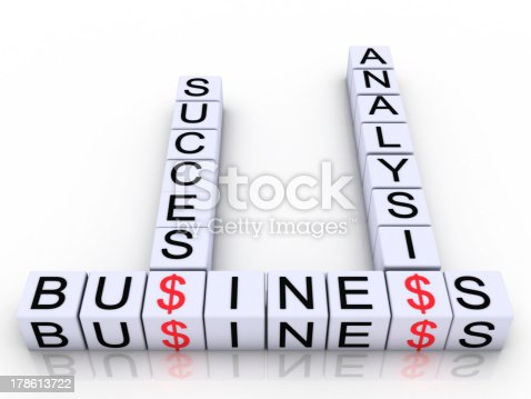 Cubes with letters arranged in words business, analisis and success, white background, 3d render