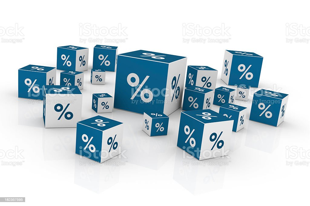 Cubes with Percentage Sign stock photo
