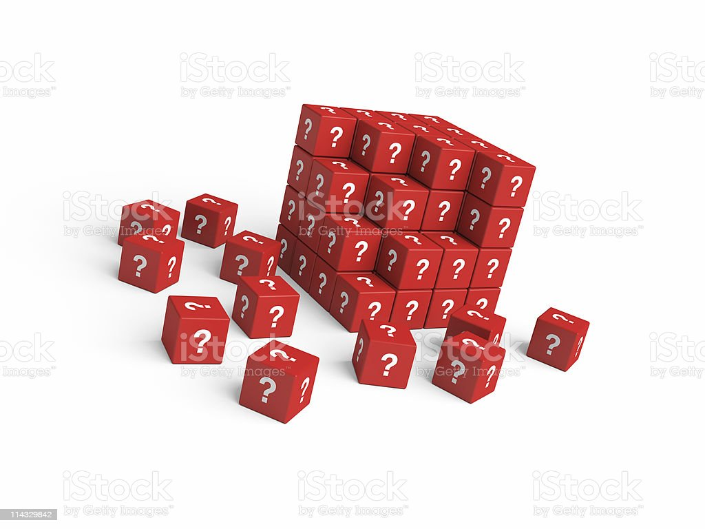 Cubes with Question Marks royalty-free stock photo