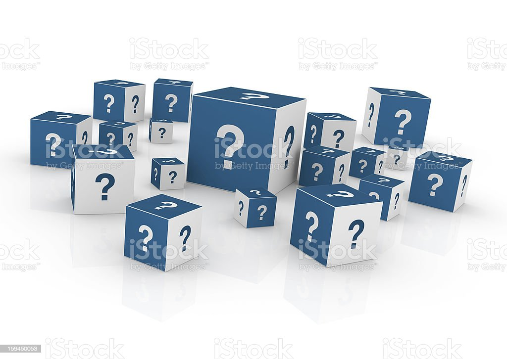 Cubes with Question Marks stock photo