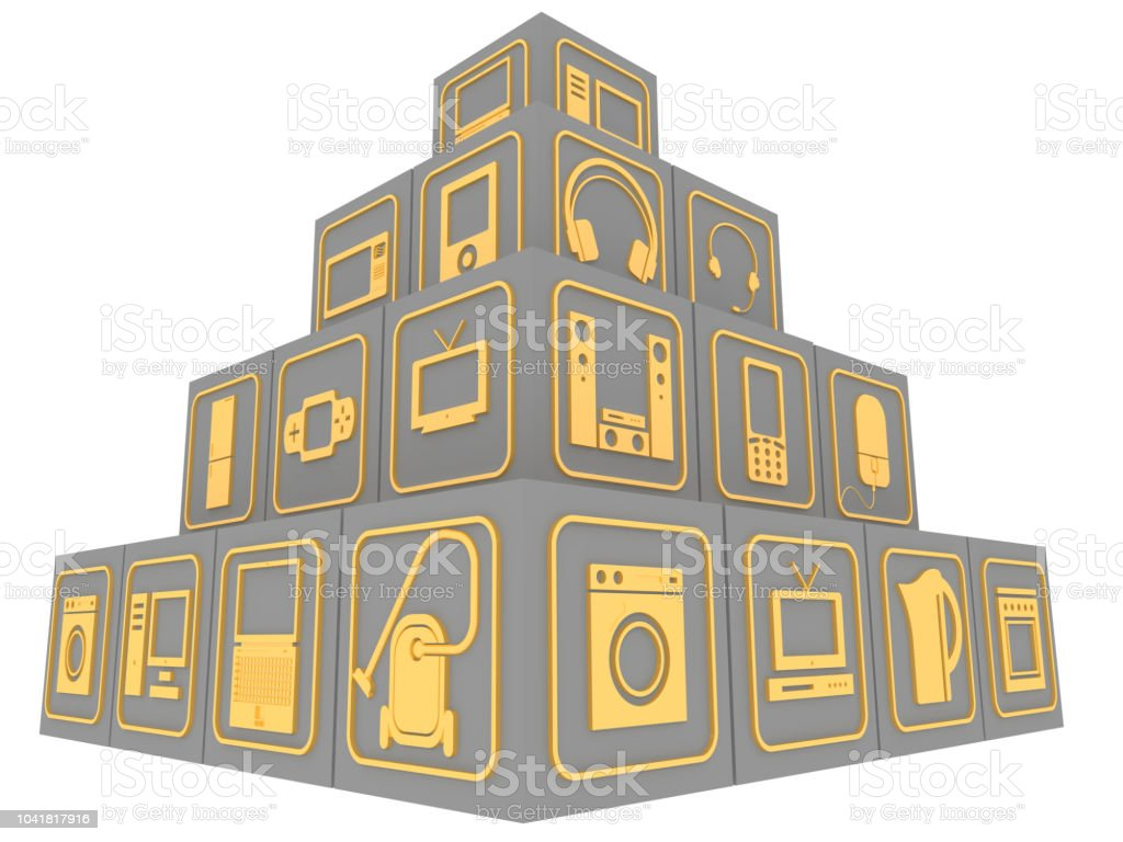 Cubes with symbols of household electronic equipment stock photo