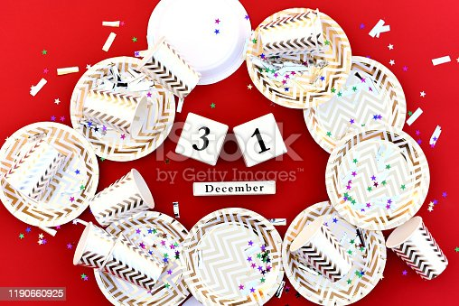 istock Cubes with the date of the new year with holiday accessories. 1190660925