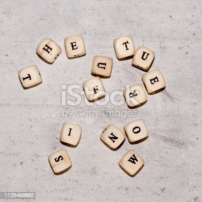 istock Cubes with the words THE FUTURE IS NOW on a gray concrete background. Top view Selective focus. 1125468882