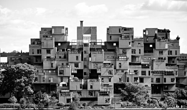 Cube-shaped housing. stock photo