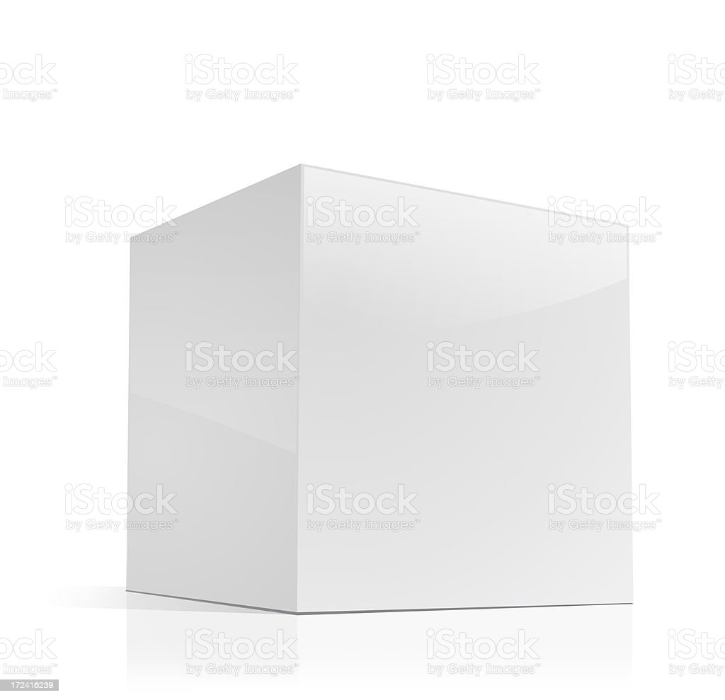 Cube-shaped Software Package Box stock photo
