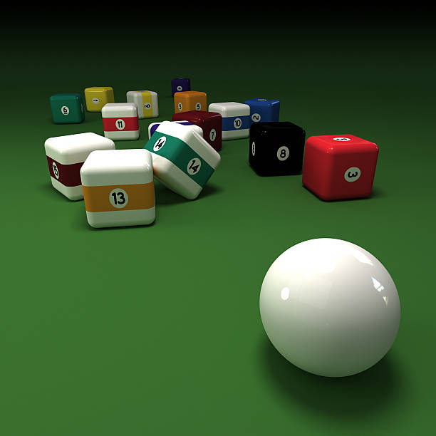 cubic billiard balls - cue ball stock pictures, royalty-free photos & images