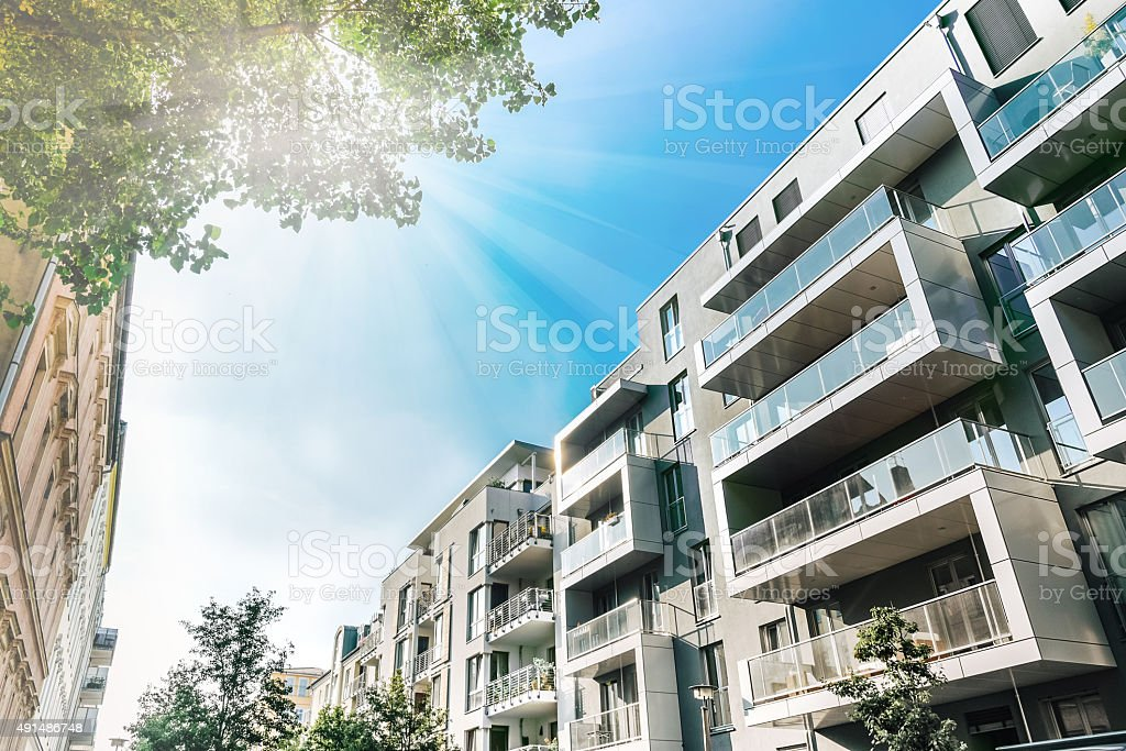 cubic modern residential houses in summer berlin stock photo