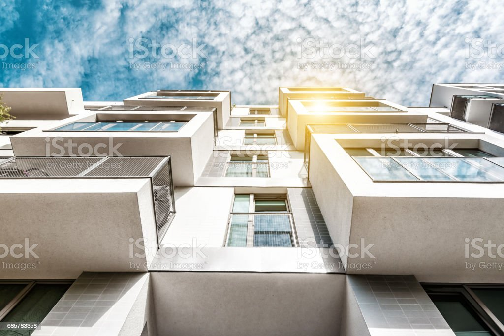 cubic residential architecture in berlin with balconies stock photo