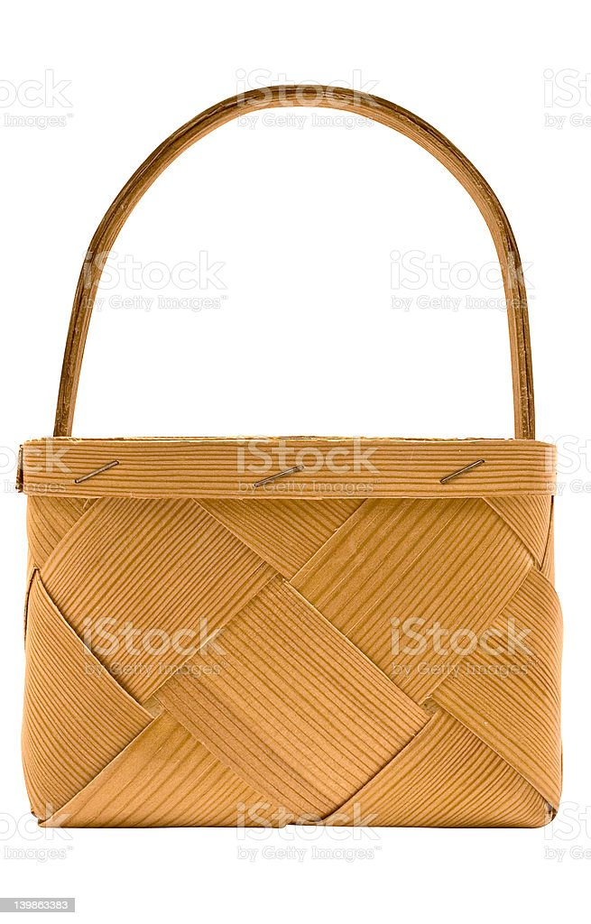 Cubic Wooden Basket w/ Path (Side View) royalty-free stock photo