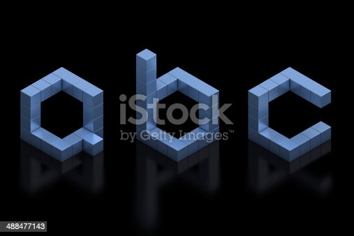 istock cubical 3d font letters A, B, C 488477143