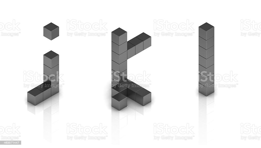 cubical 3d font letters j k l stock photo