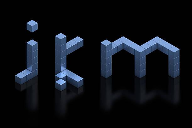 cubical 3d font letters J, K, M cubical 3d font letters J, K, M k icon stock pictures, royalty-free photos & images