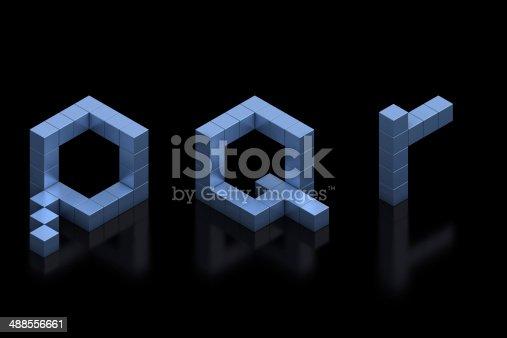 583978558istockphoto cubical 3d font letters P, Q, R 488556661
