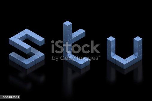583978622istockphoto cubical 3d font letters S, T, U 488499531