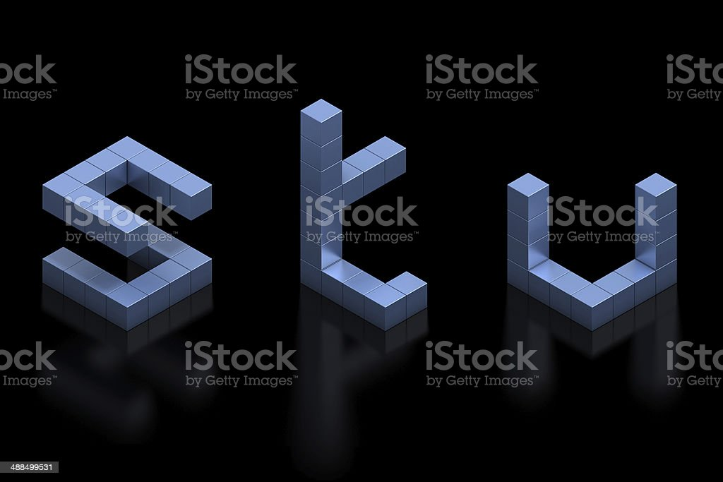 cubical 3d font letters S, T, U stock photo
