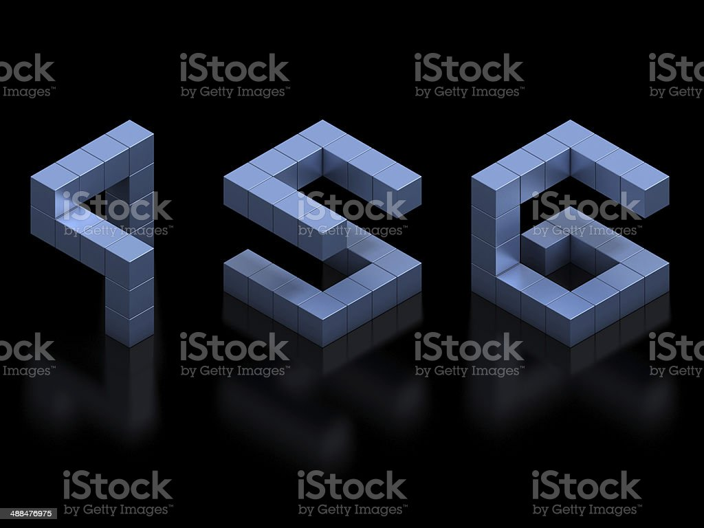 cubical 3d font numbers 4, 5, 6 stock photo