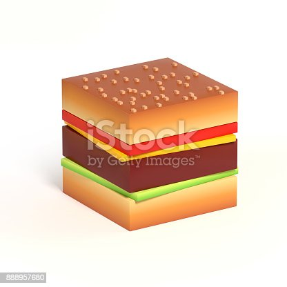 istock Cubical hamburger 3d icon isolated illustration 888957680
