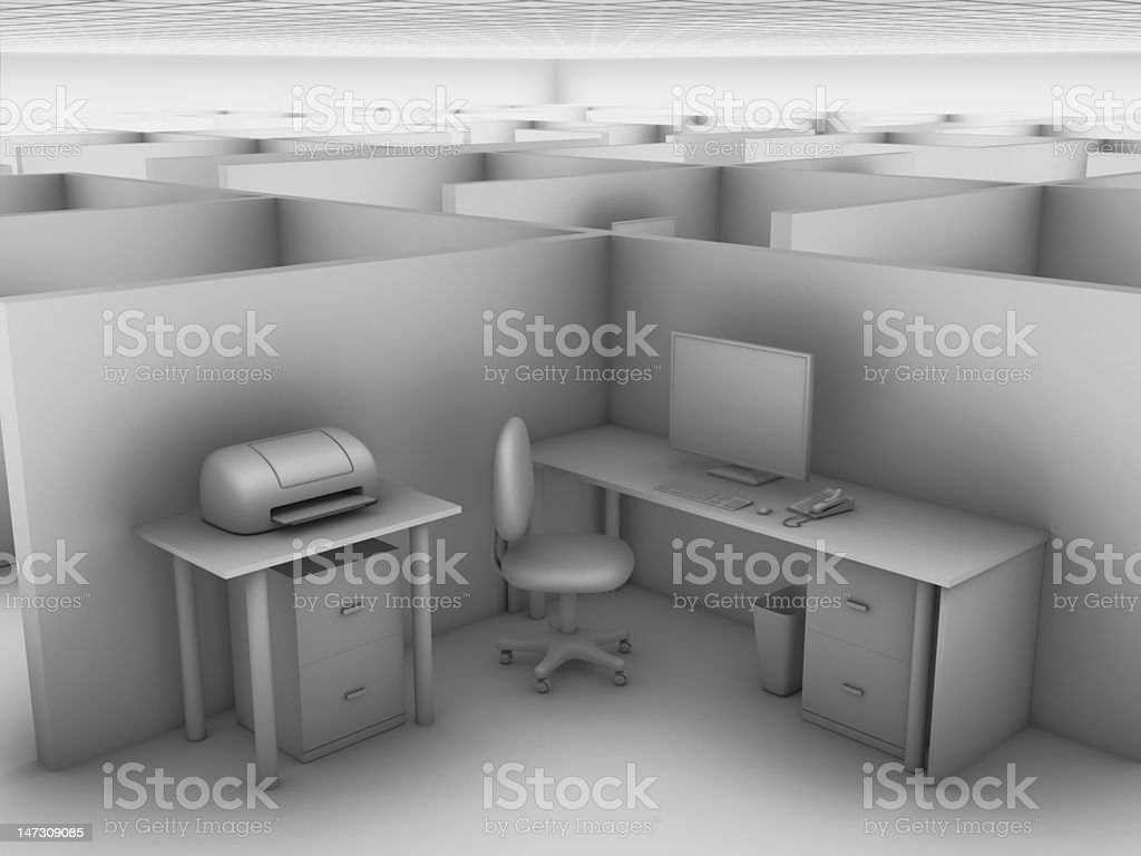 Cubicle in a Vast Office Grayscale rendering of office cubicle in a vast office. Cabinet Stock Photo