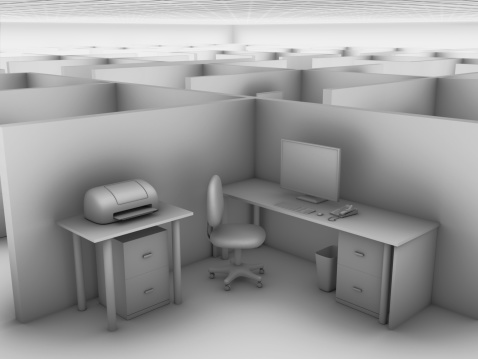 Cubicle In A Vast Office Stock Photo - Download Image Now