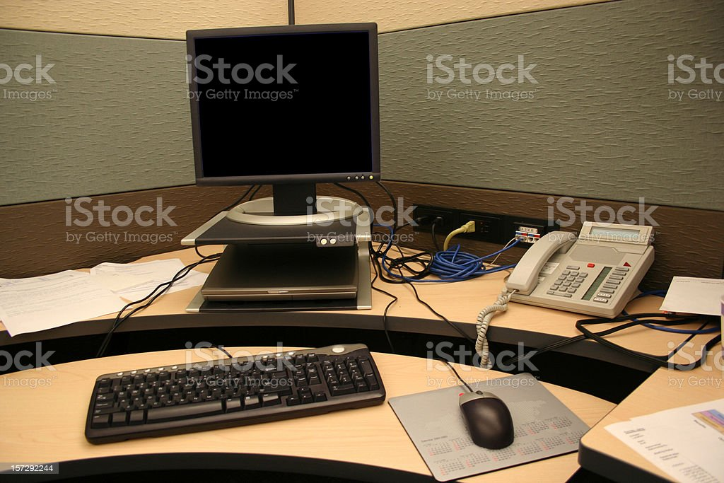 Cubicle Life: Desk, Computer & Phone - Blank Monitor stock photo