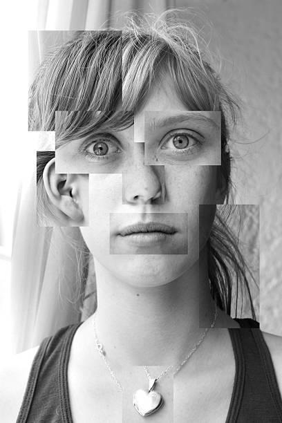 Cubism girl stock photo