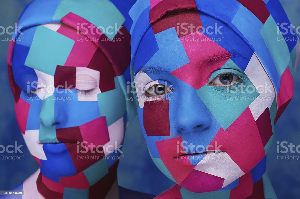cubism styled ladies stock photo