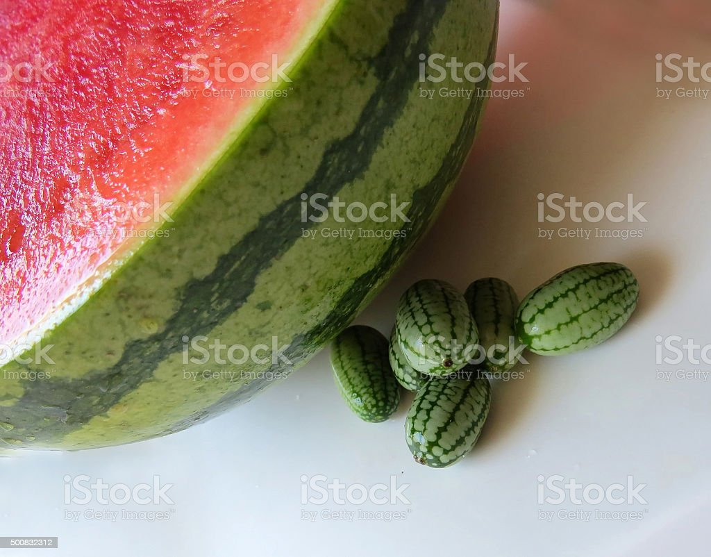 Cucamelon with watermelon stock photo