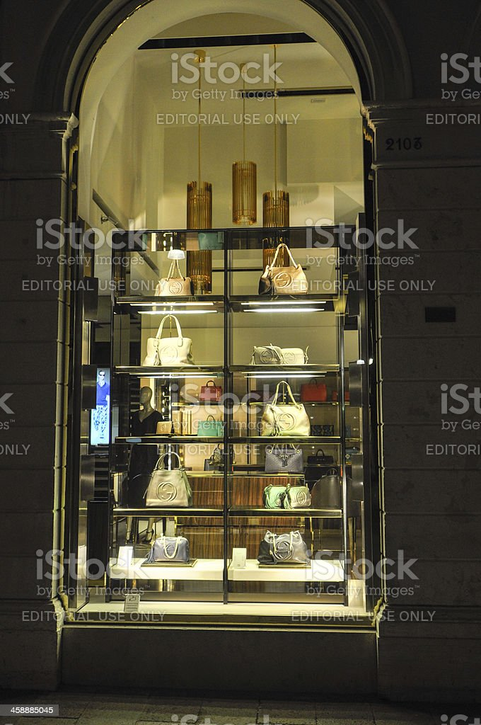 Cucci current lady's purse in showcase royalty-free stock photo