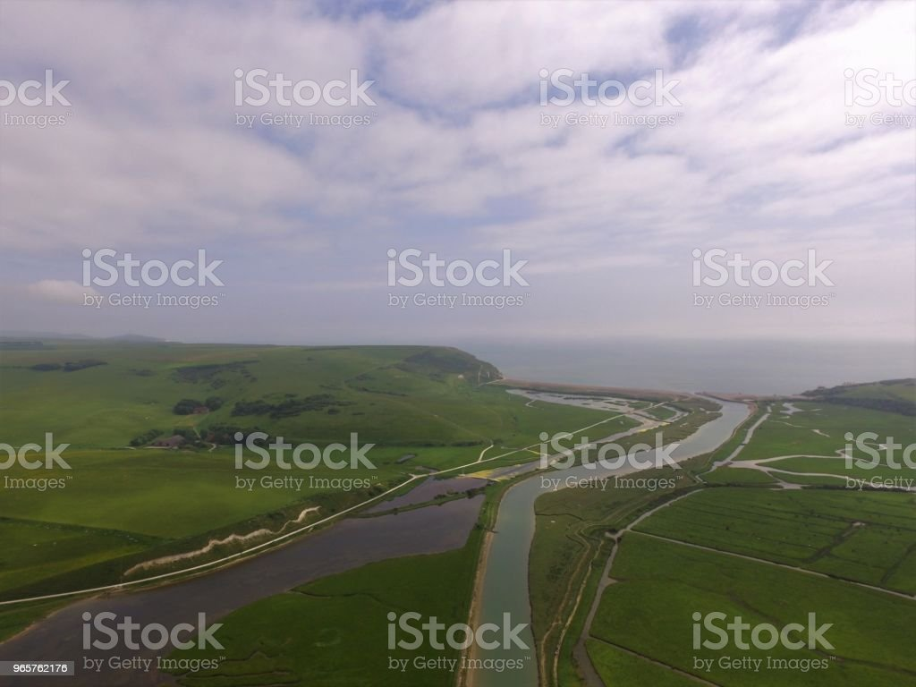 Cuckmere Haven and the River Cuckmere. - Royalty-free Aerial View Stock Photo
