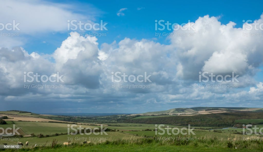 Cuckmere Valley and Clouds stock photo