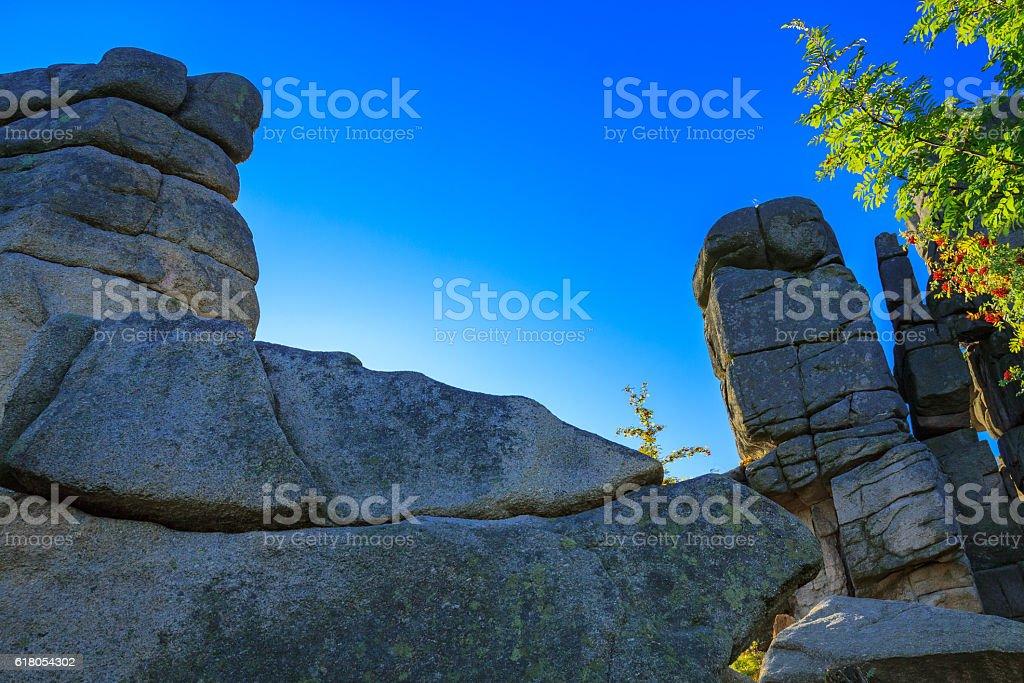 Cuckoo rocks in the Karkonosze National Park. stock photo
