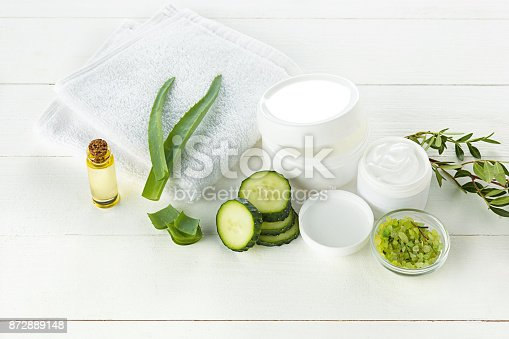 istock Cucumber and aloe cosmetic cream face, skin and body care hygiene moisture lotion 872889148